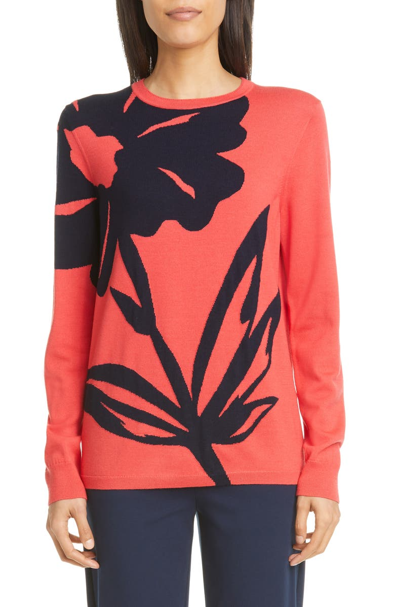 ST. JOHN COLLECTION Oversize Floral Intarsia Wool Sweater, Main, color, APPLE/ NAVY