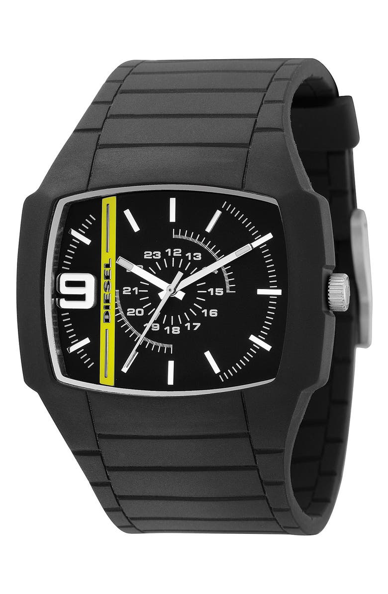 DIESEL<SUP>®</SUP> 'Trojan' Silicone Strap Watch, 48mm x 43mm, Main, color, 001