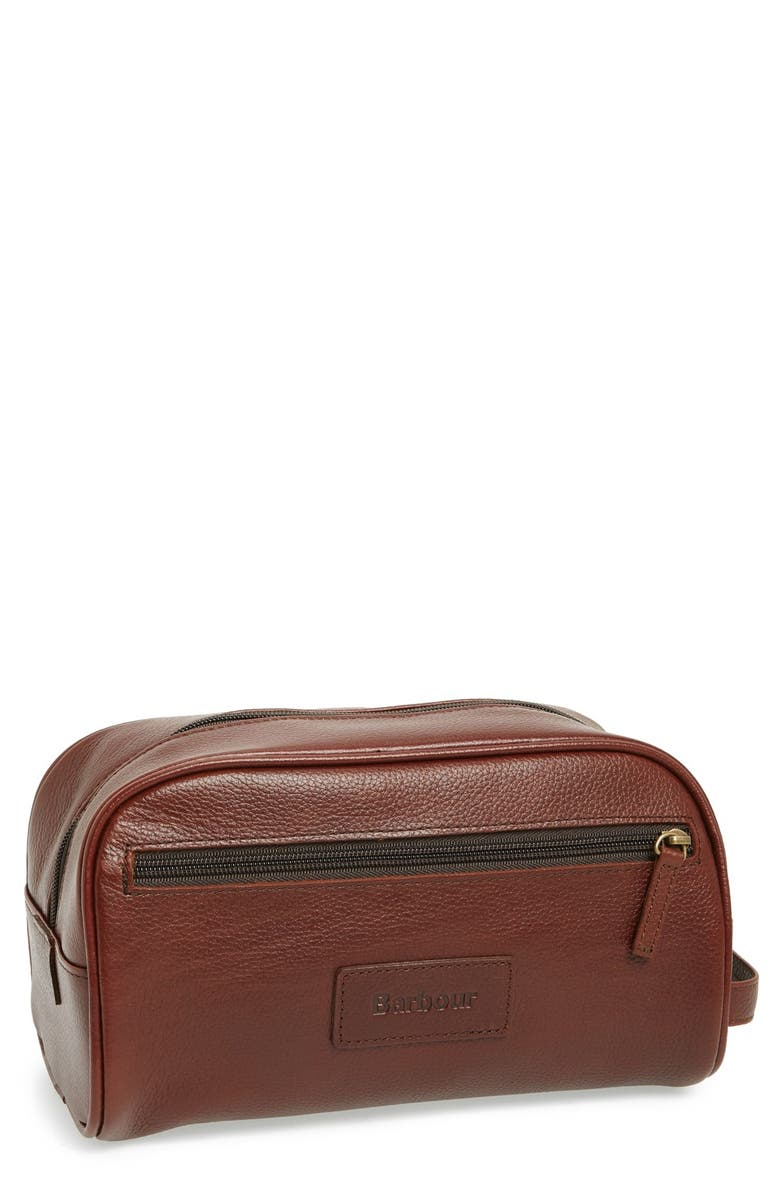 BARBOUR Leather Travel Kit, Main, color, DARK BROWN