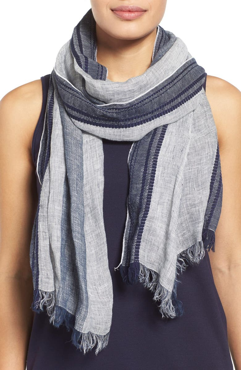 EILEEN FISHER Linen & Organic Cotton Scarf, Main, color, MIDNIGHT