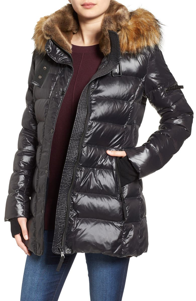 S13 'Chelsea' Gloss Down Jacket with Removable Hood and Faux Fur Trim, Main, color, 002