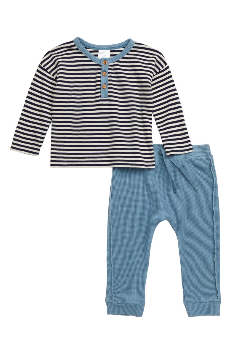 NORDSTROM BABY Henley Shirt & Waffle Knit Pants Set, Main, color, 410