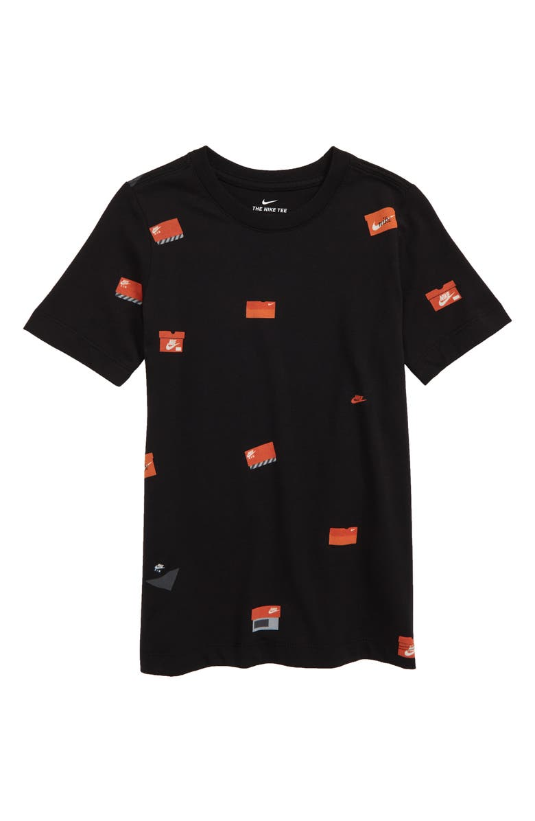 NIKE Sportswear Allover Shoebox Graphic T-Shirt, Main, color, 010