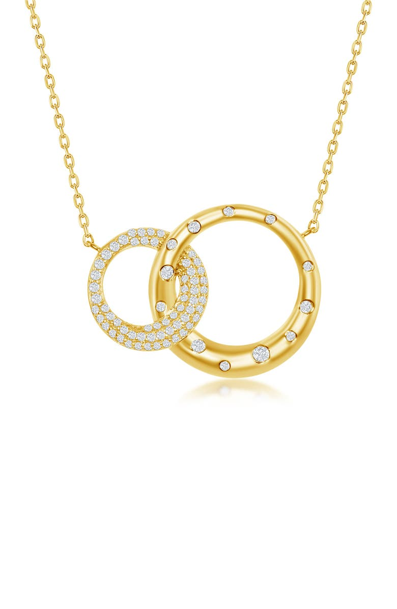 SIMONA Sterling Silver Micro Pave CZ Interlocking Circles Necklace - Gold Plated, Main, color, GOLD
