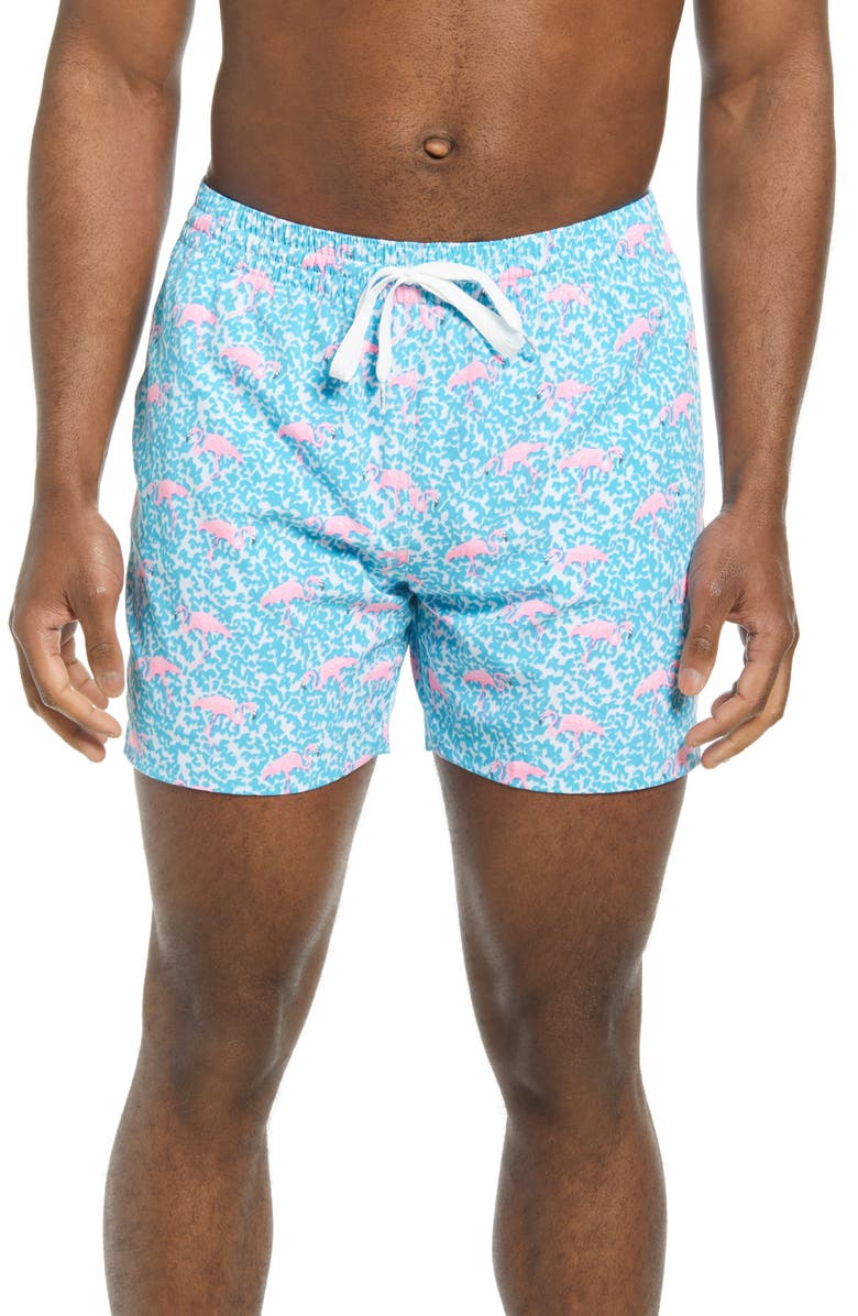 CHUBBIES The Domingos are for Flamingos 5 1/2-Inch Swim Trunks, Main, color, BRIGHT BLUE