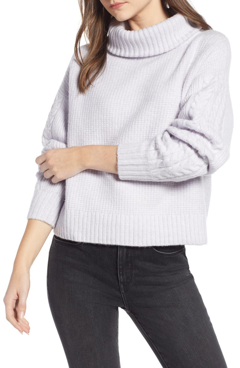 SOMETHING NAVY Cozy Textured Turtleneck, Main, color, 531