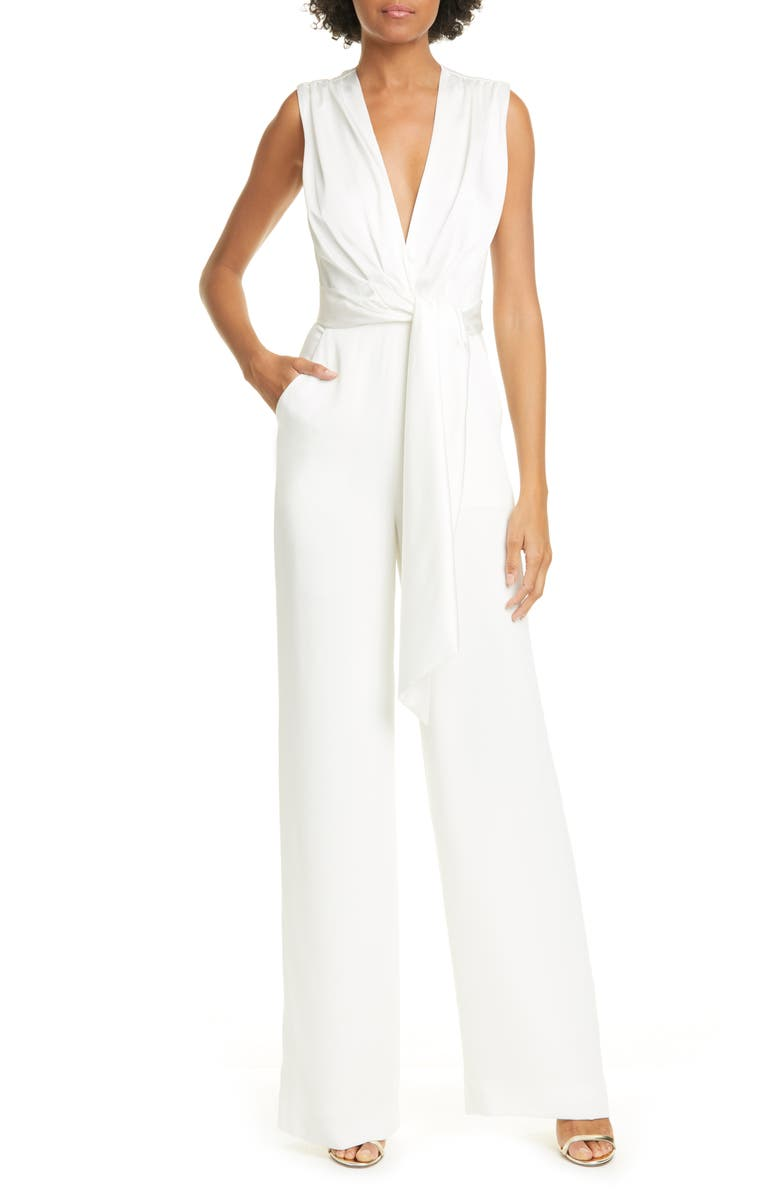 JONATHAN SIMKHAI Satin & Crepe Jumpsuit, Main, color, 100