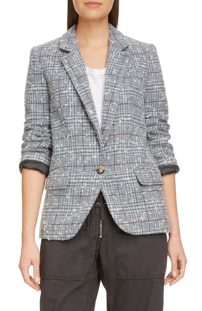 ISABEL MARANT ÉTOILE Kice Glen Plaid Wool Blend Blazer, Main, color, 020