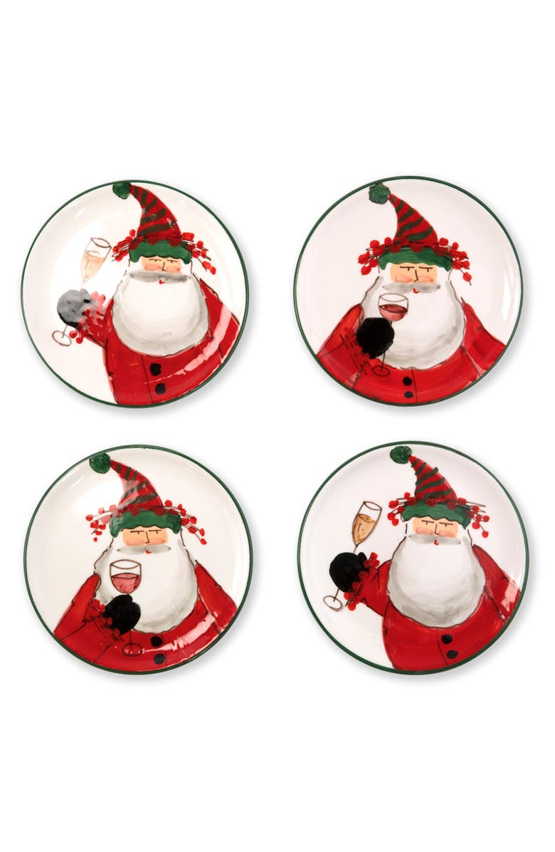 VIETRI Old St. Nick Set of 4 Cocktail Plates, Main, color, 600