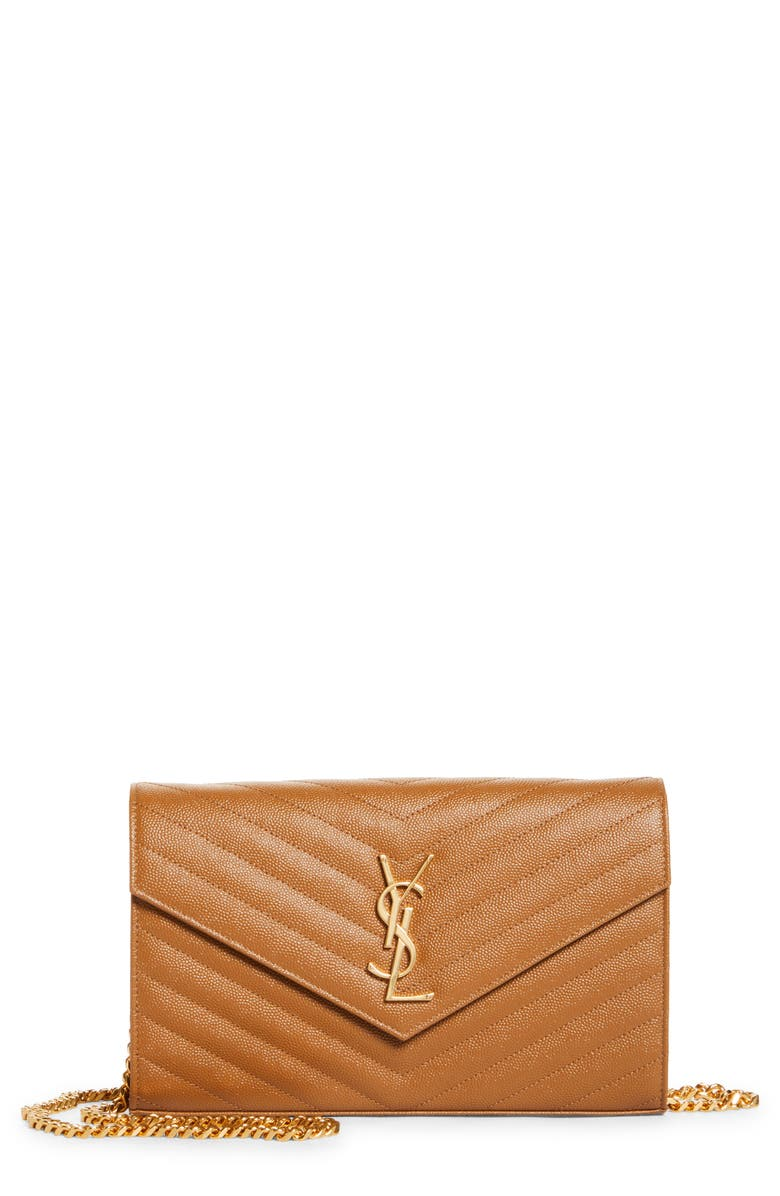 SAINT LAURENT Large Monogram Quilted Leather Wallet on a Chain, Main, color, NATURAL DARK