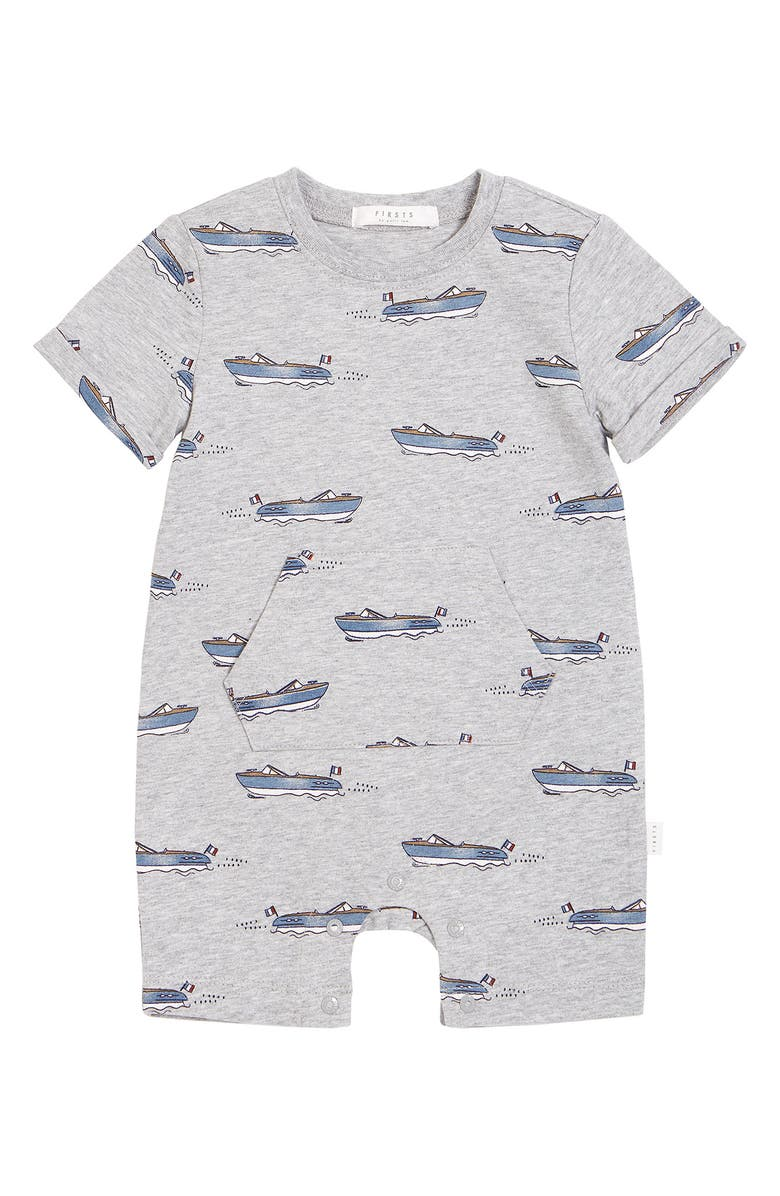 FIRSTS BY PETIT LEM Club Nautique Romper, Main, color, LIGHT HEATHER GREY