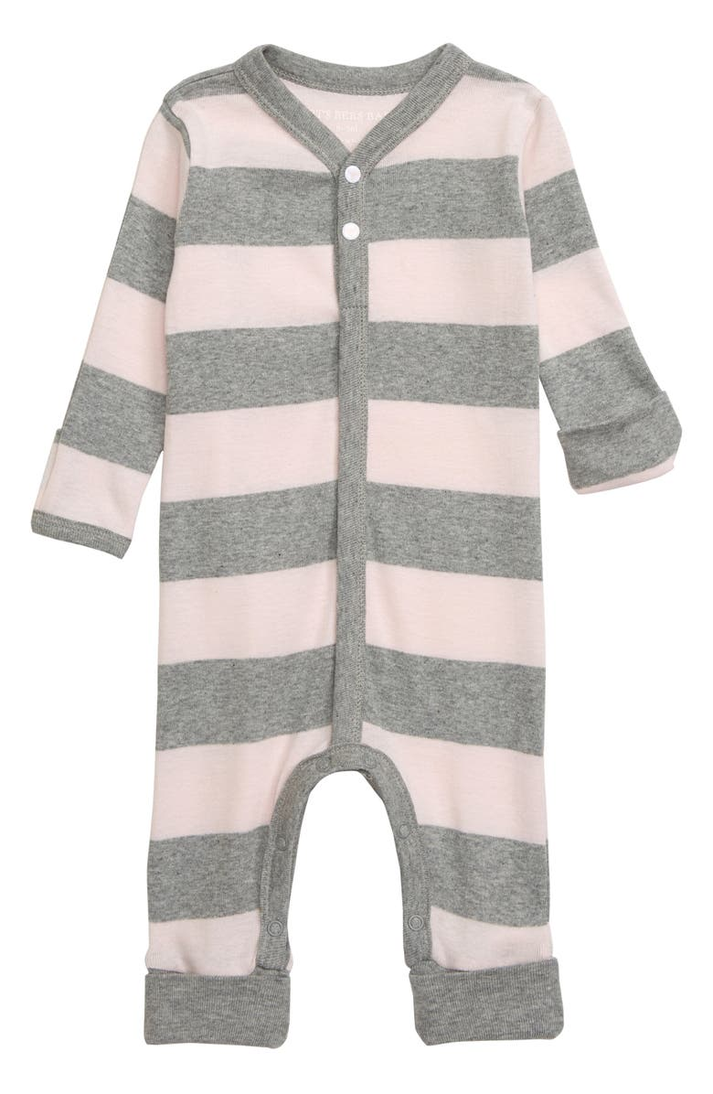 BURT'S BEES BABY Rugby Stripe Organic Cotton Romper, Main, color, 650