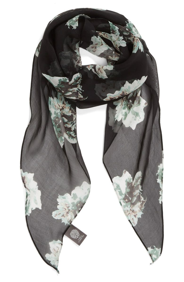 VINCE CAMUTO Floral Print Silk Scarf, Main, color, 080