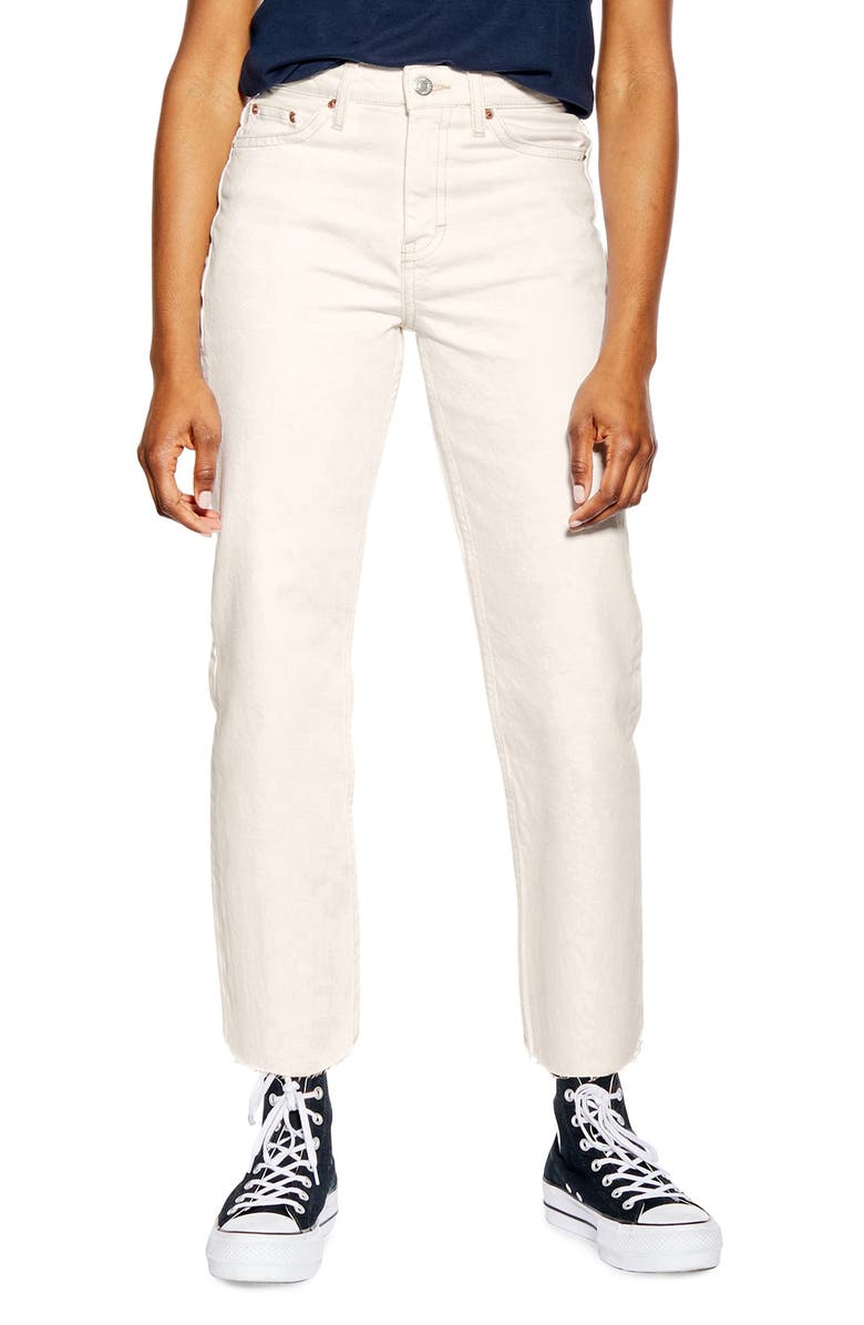 TOPSHOP Off White Raw Hem Straight Leg Jeans, Main, color, 100