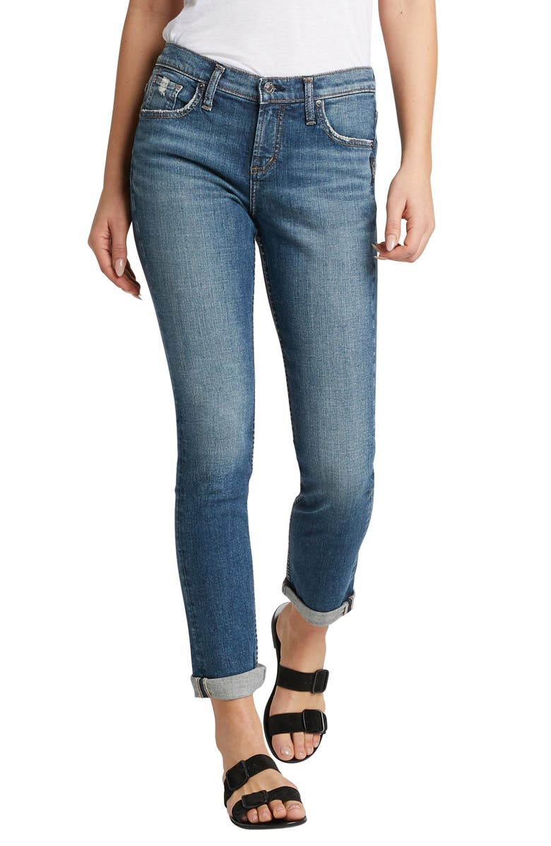 SILVER JEANS CO. Beau Distressed Cuff Girlfriend Fit Jeans, Main, color, INDIGO
