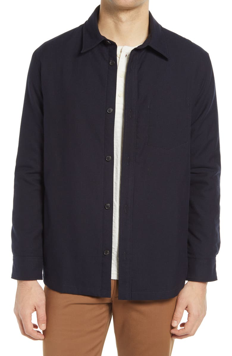 A.P.C. Button-Up Flannel Shirt with Quilted Lining, Main, color, DARK NAVY