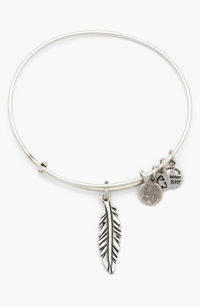 ALEX AND ANI 'Feather' Expandable Wire Bangle, Main, color, 040