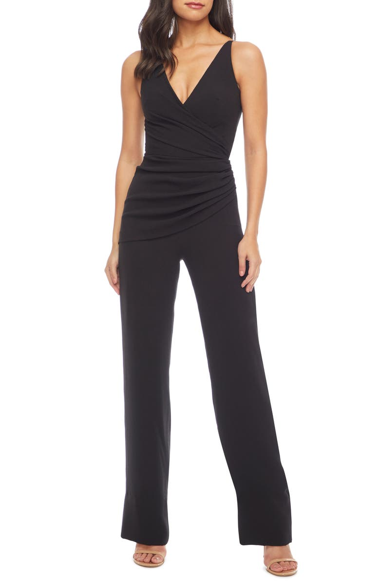 DRESS THE POPULATION Sam Ruched Jumpsuit, Main, color, 001