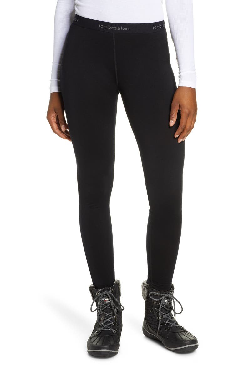 ICEBREAKER 200 Oasis Merino Wool Jersey Base Layer Leggings, Main, color, BLACK