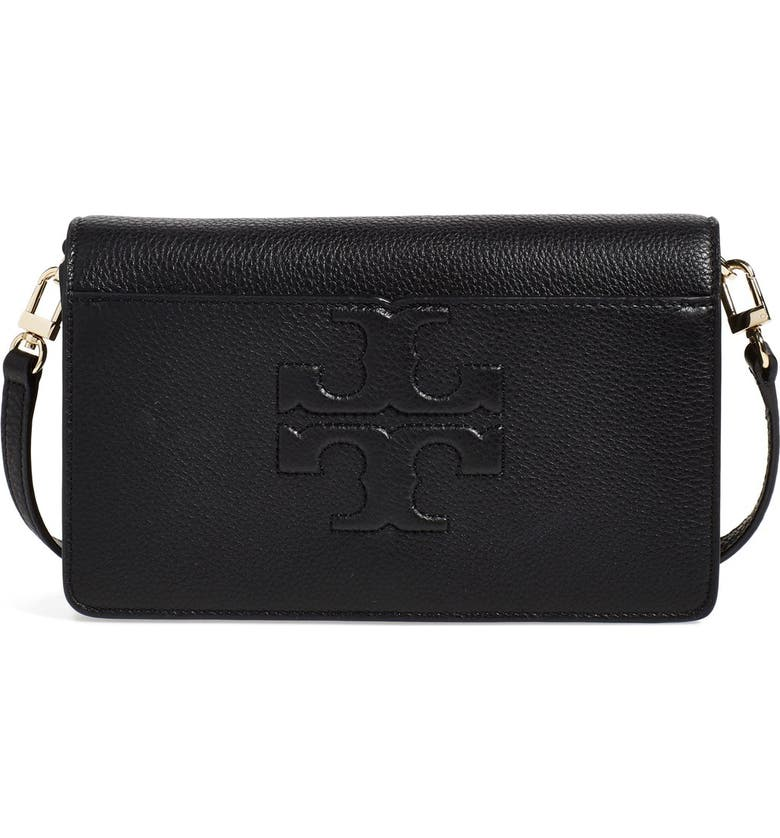 TORY BURCH 'Small Bombe T' Leather Convertible Crossbody Bag, Main, color, Z/DNUBLACK