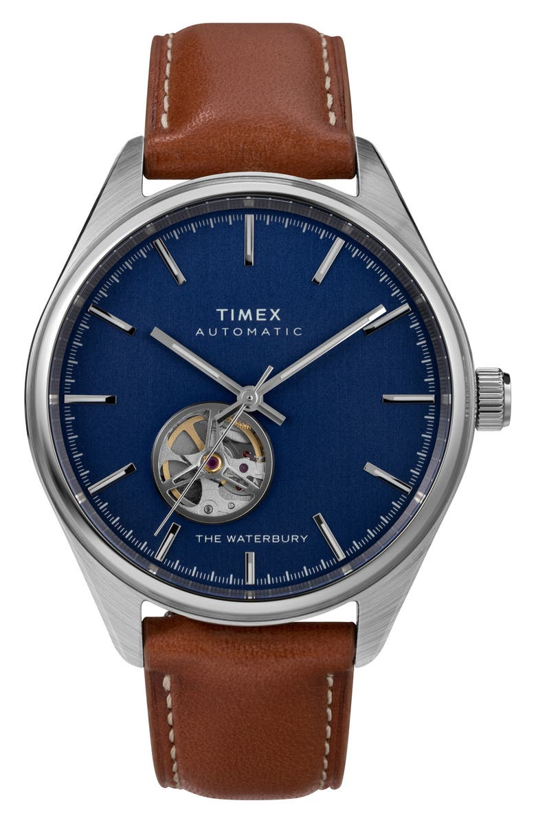 TIMEX<SUP>®</SUP> Waterbury Traditional Leather Strap Watch, 42mm, Main, color, BROWN