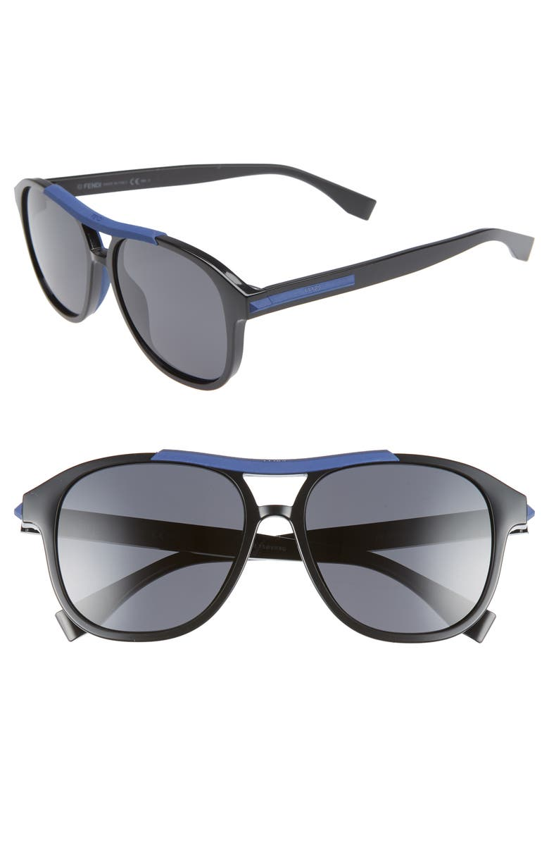 FENDI 56mm Aviator Sunglasses, Main, color, 001