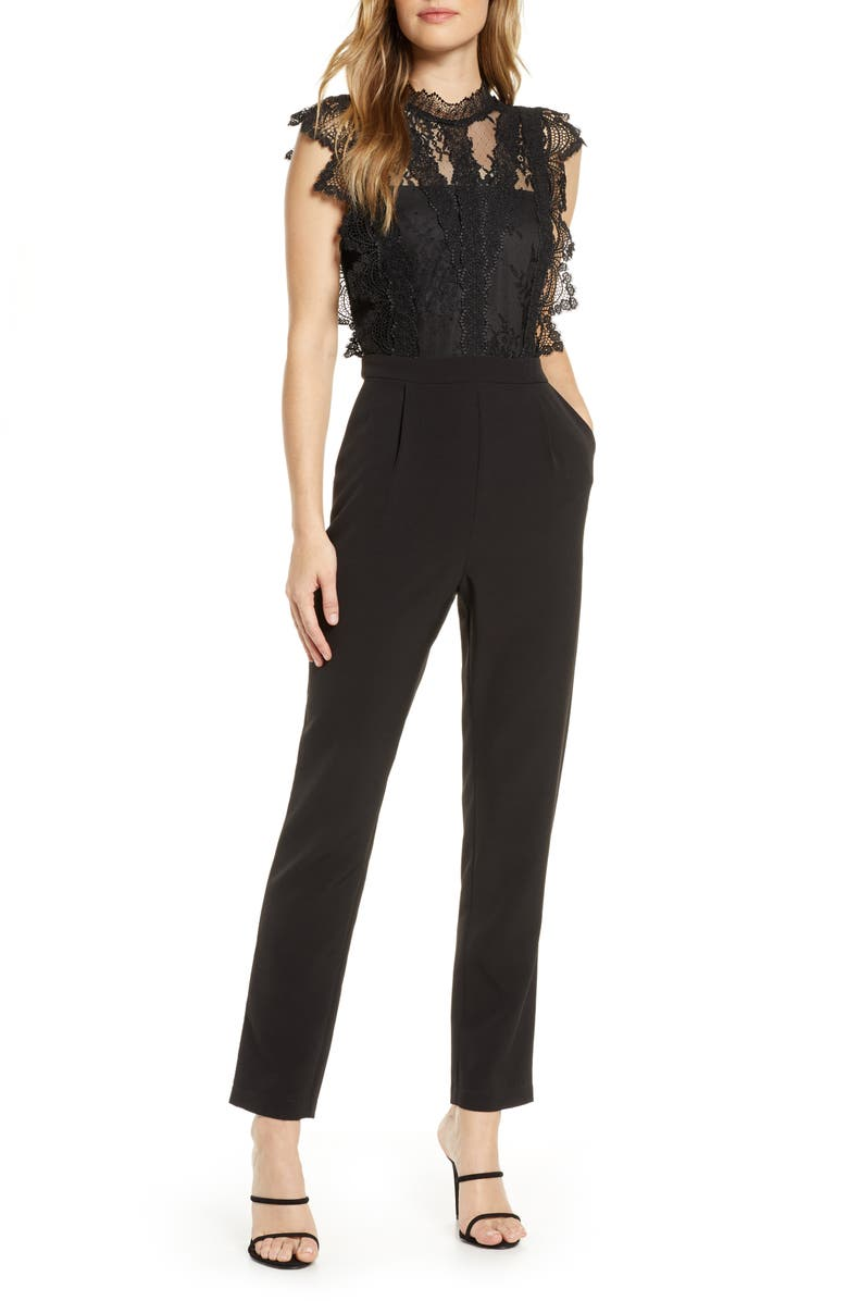 ADELYN RAE Madeline Lace Jumpsuit, Main, color, 001