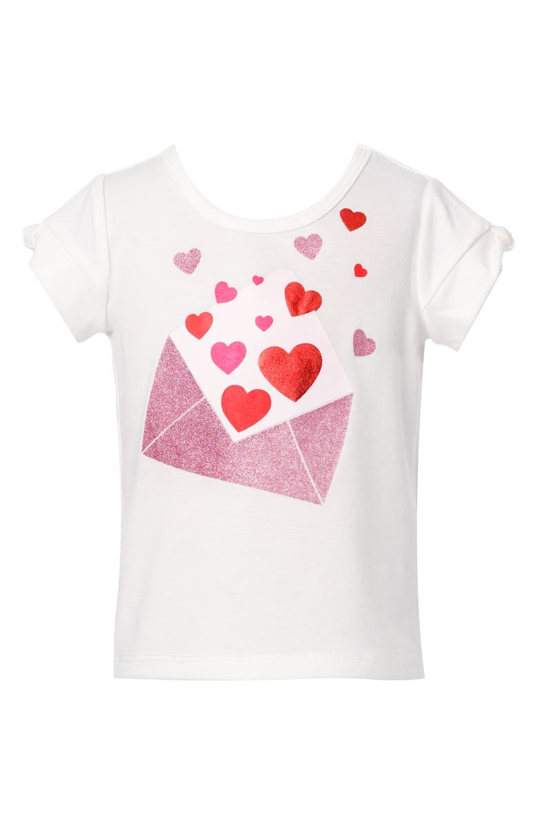 TRULY ME Kids' Love Letter Graphic Tee, Main, color, WHITE MULTI