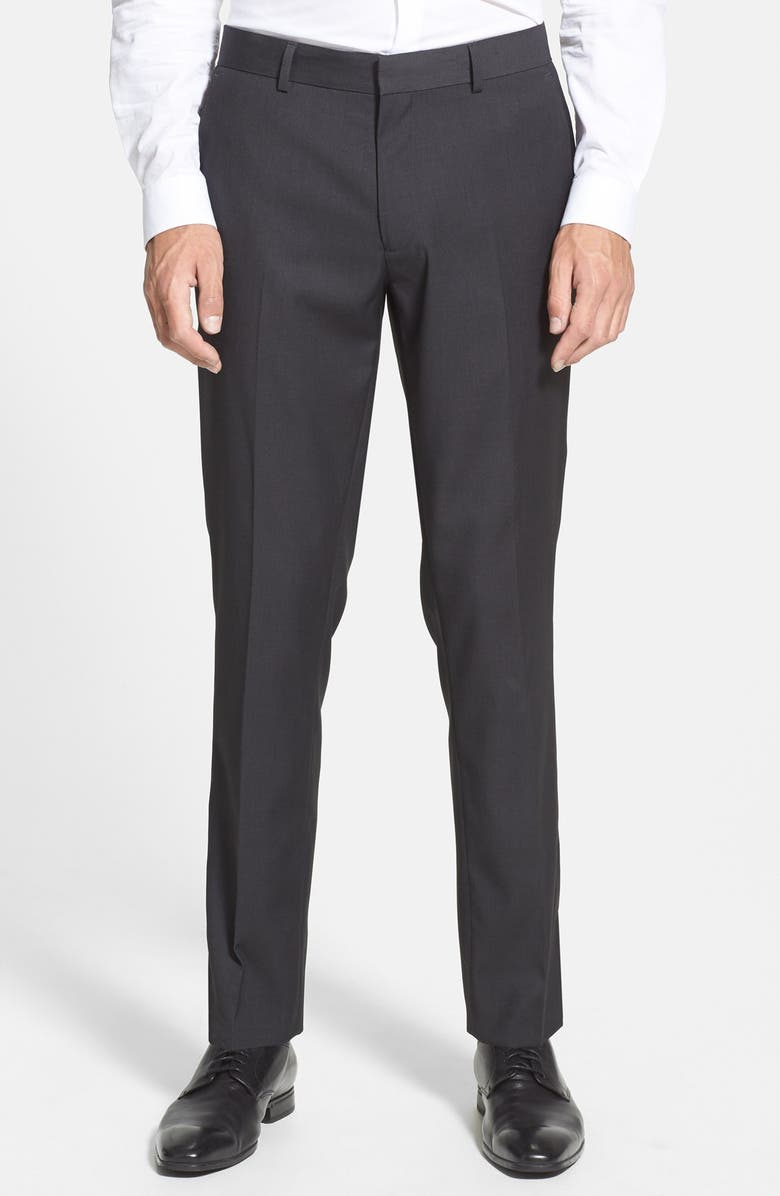 TOPMAN Skinny Fit Suit Trousers, Main, color, CHARCOAL