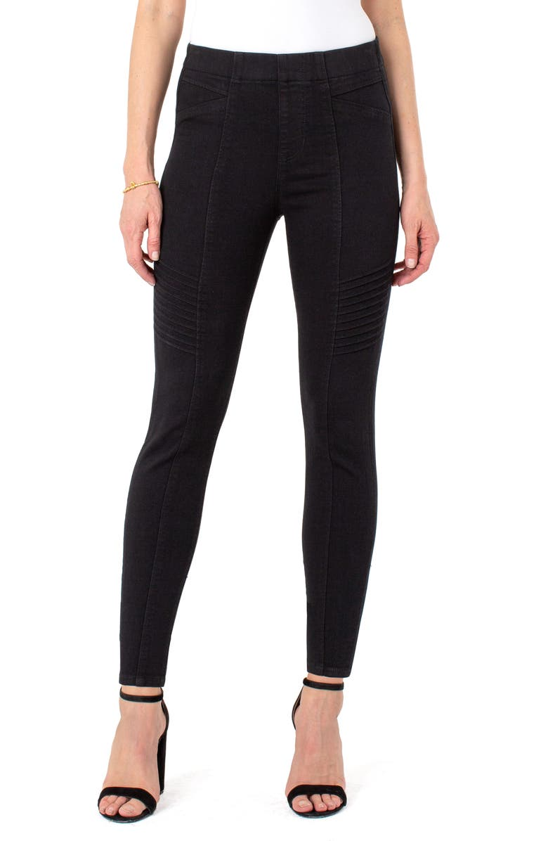 LIVERPOOL Seamed Moto Pull-On Jeans, Main, color, BLACK RINSE