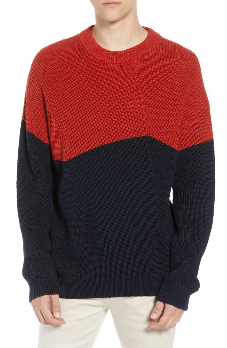 FRENCH CONNECTION Asymmetrical Colorblock Sweater, Main, color, ROOIBOS TEA