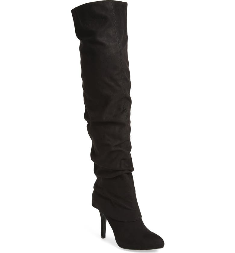 NINA 'Kymari' Over the Knee Pointy Toe Boot, Main, color, BLACK SUEDE