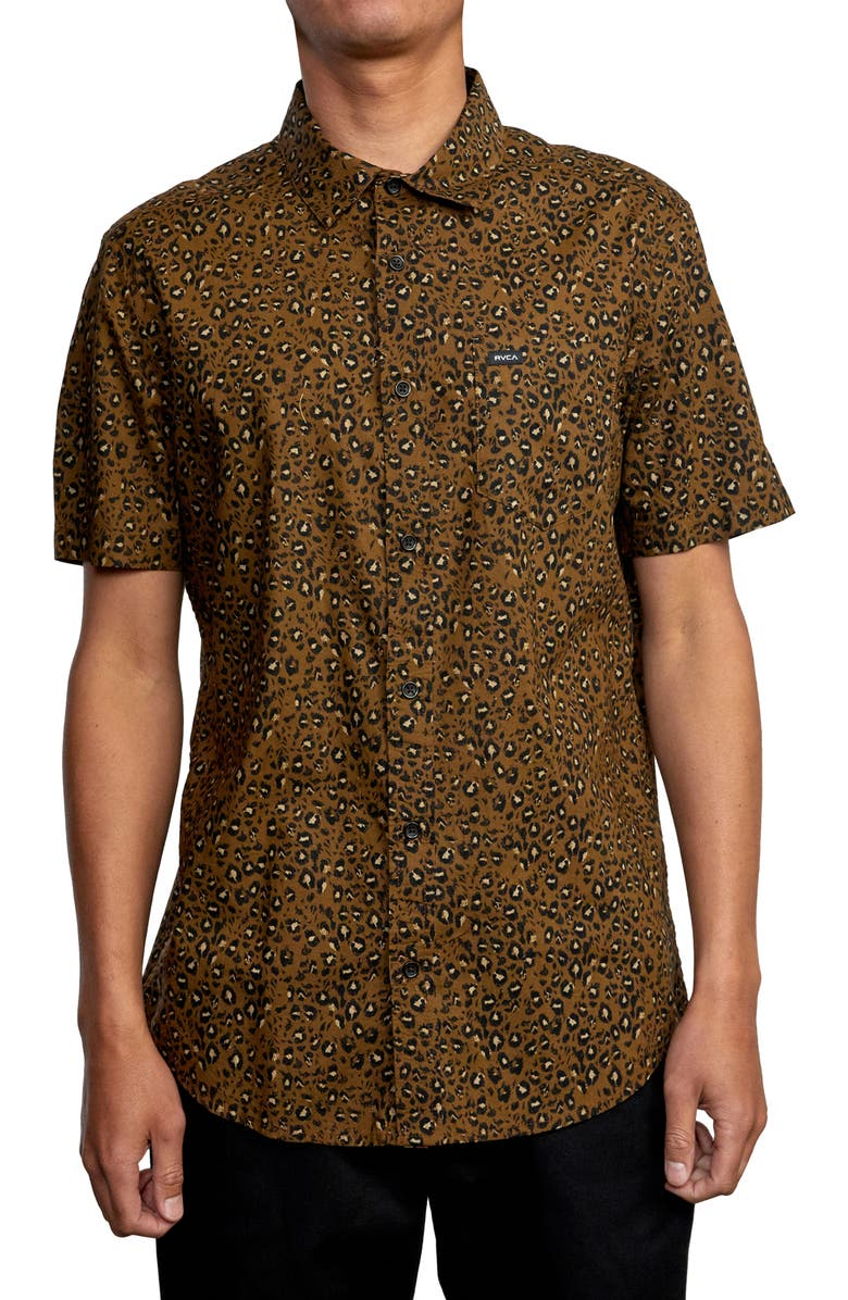 RVCA No Fun Short Sleeve Cotton Button-Up Shirt, Main, color, BOMBAY BROWN