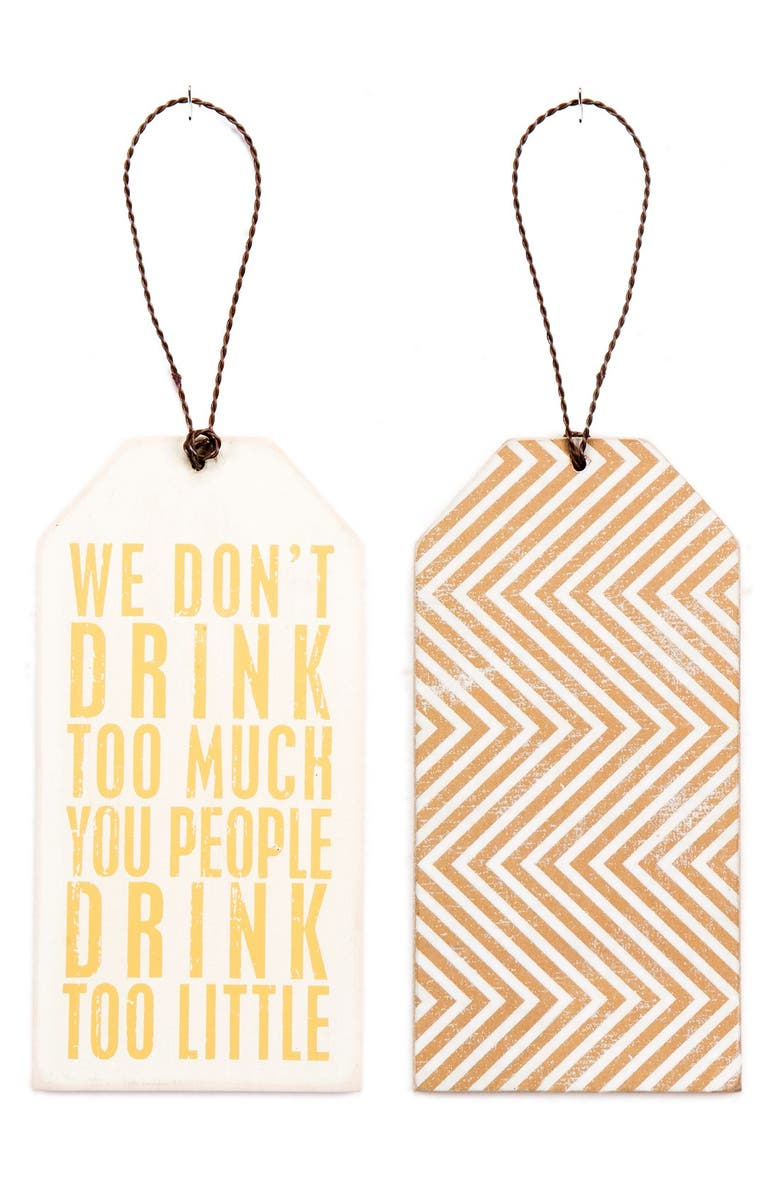 PRIMITIVES BY KATHY 'Drink Too Little' Wine Bottle Tag, Main, color, Brown