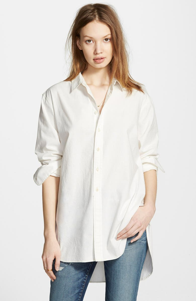 MADEWELL Oversized Button Front Tunic, Main, color, EYELET WHITE
