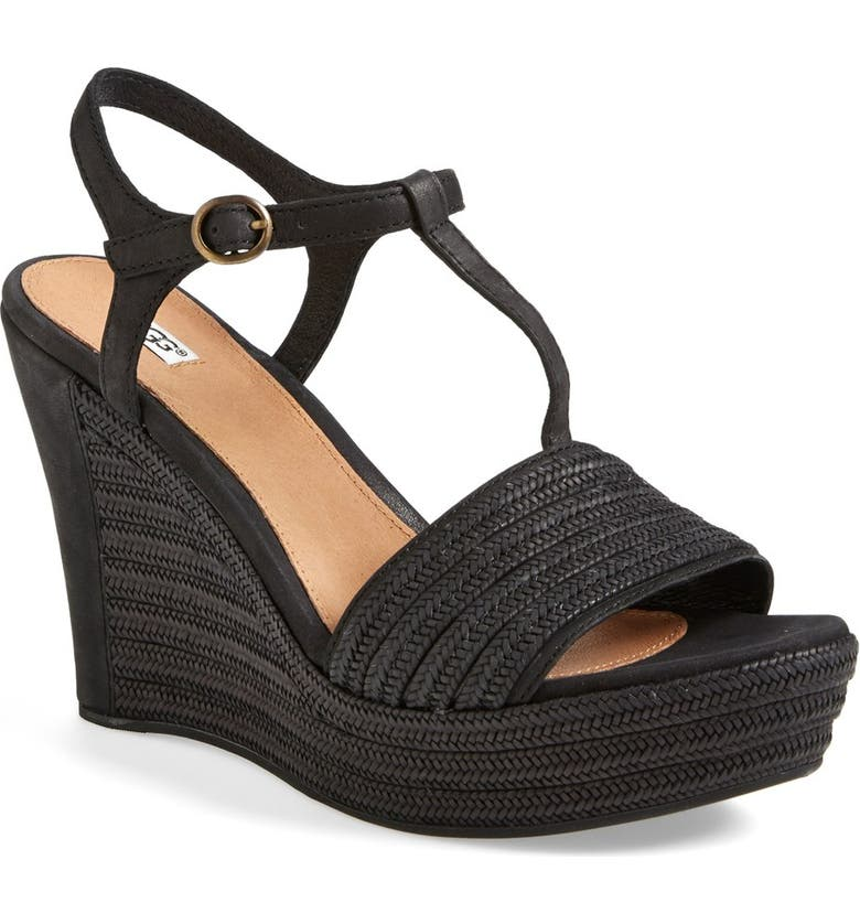 UGG<SUP>®</SUP> 'Fitchie' T-Strap Wedge Sandal, Main, color, BLACK