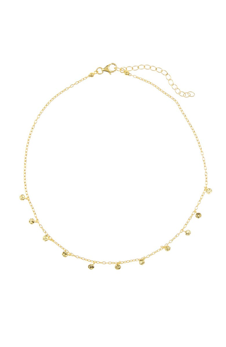 ADORNIA 14K Gold Plated Sterling Silver Confetti Choker Necklace, Main, color, YELLOW