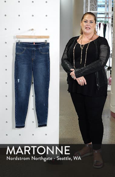 Distressed High Waist Ankle Denim Leggings, sales video thumbnail