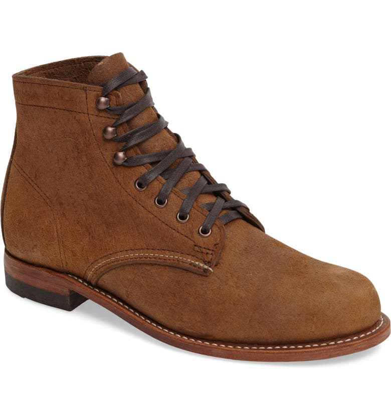 WOLVERINE '1000 Mile' Plain Toe Boot, Main, color, BROWN WAXY SUEDE