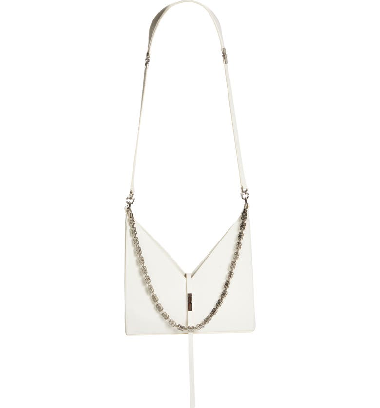GIVENCHY Small Cutout Chain Strap Leather Crossbody Bag, Main, color, IVORY