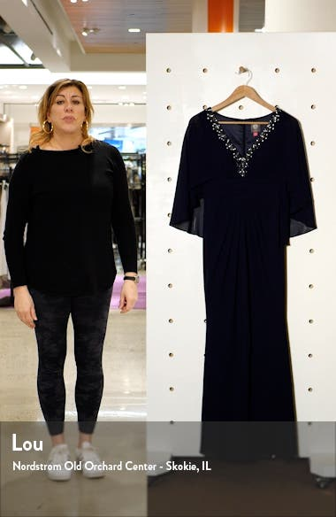 Beaded Neckline Capelet Gown, sales video thumbnail