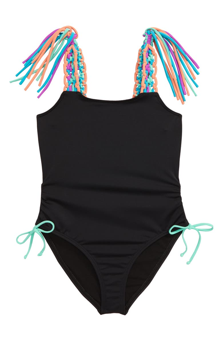 HEART AND HARMONY Macramé Strap One-Piece Swimsuit, Main, color, 001