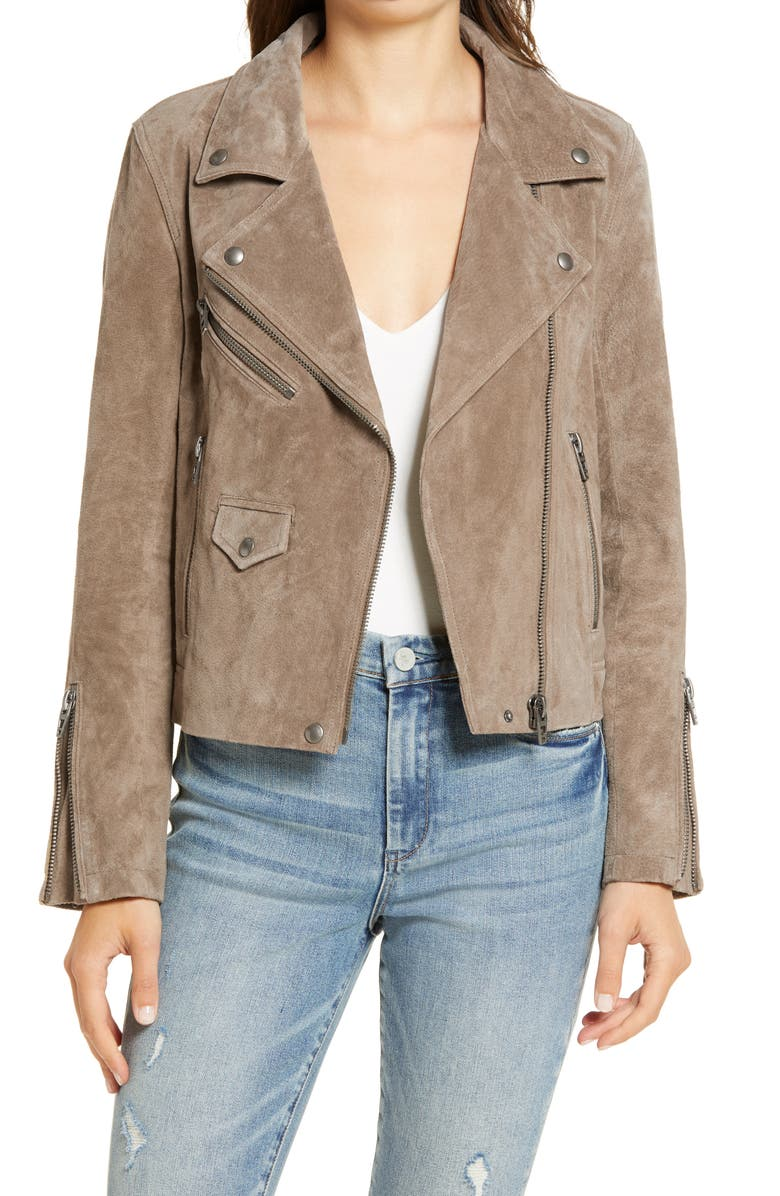 BLANKNYC Vital Signs Suede Moto Jacket, Main, color, FRENCH TAUPE