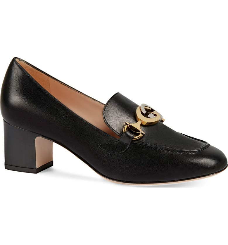 GUCCI Loafer Pump, Main, color, BLACK