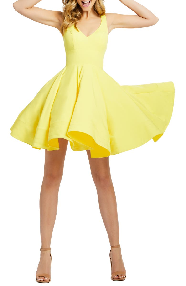 MAC DUGGAL Fit & Flare Cocktail Dress, Main, color, YELLOW
