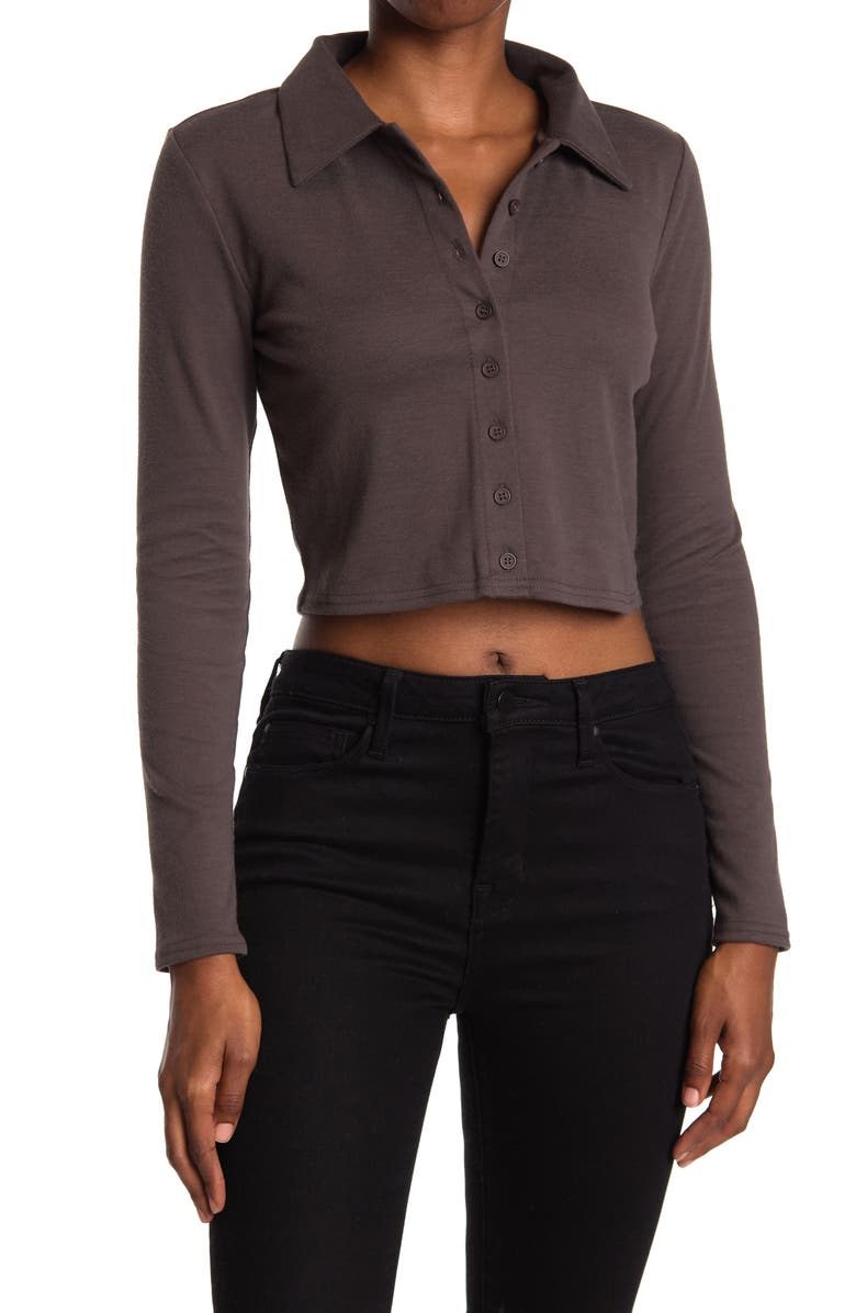 ABOUND Long Sleeve Button Front Polo, Main, color, GREY DARK CHARCOAL HEATHER