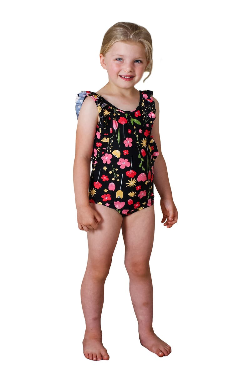 TINY TRIBE Kids' Floral Frill One-Piece Swimsuit, Main, color, BLACK