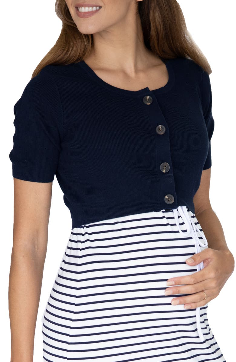 ANGEL MATERNITY Short Sleeve Maternity/Nursing Cardigan, Main, color, NAVY