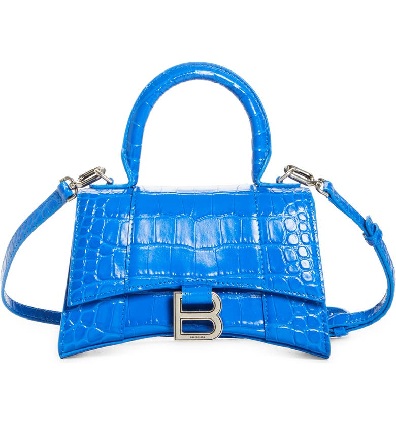 BALENCIAGA Extra Small Hourglass Croc Embossed Leather Top Handle Bag, Main, color, ROYAL BLUE