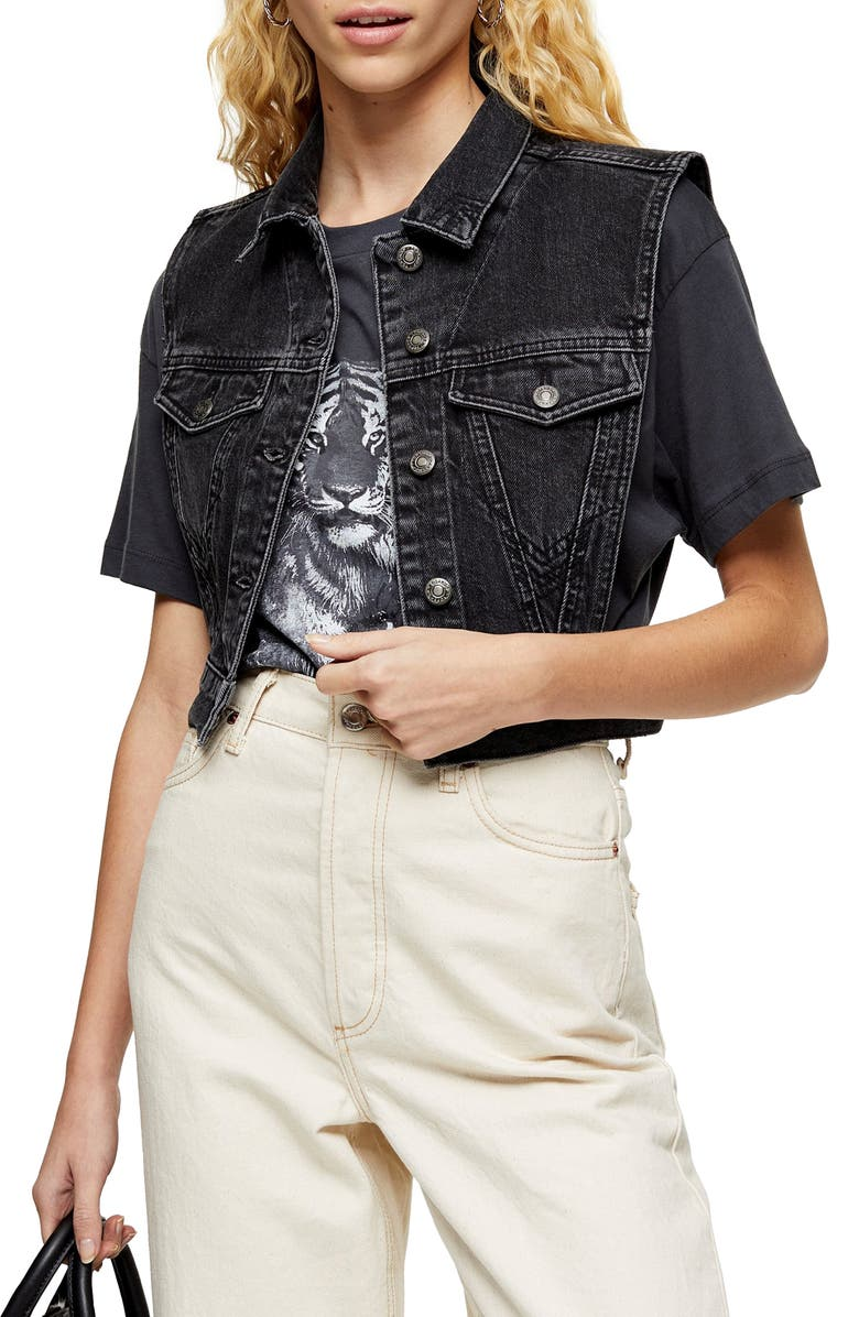 TOPSHOP Tibet Tab Denim Vest, Main, color, 003